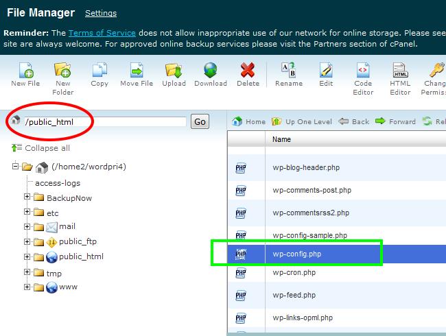 Editando el archivo wp-config.php en WordPre