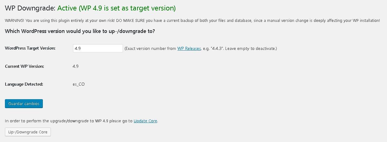 configurando wp downgrade para restaurar versiones antiguas en wordpress
