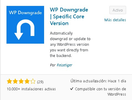 descargando wp downgrade en wordpress para restaurar versiones antiguas del core