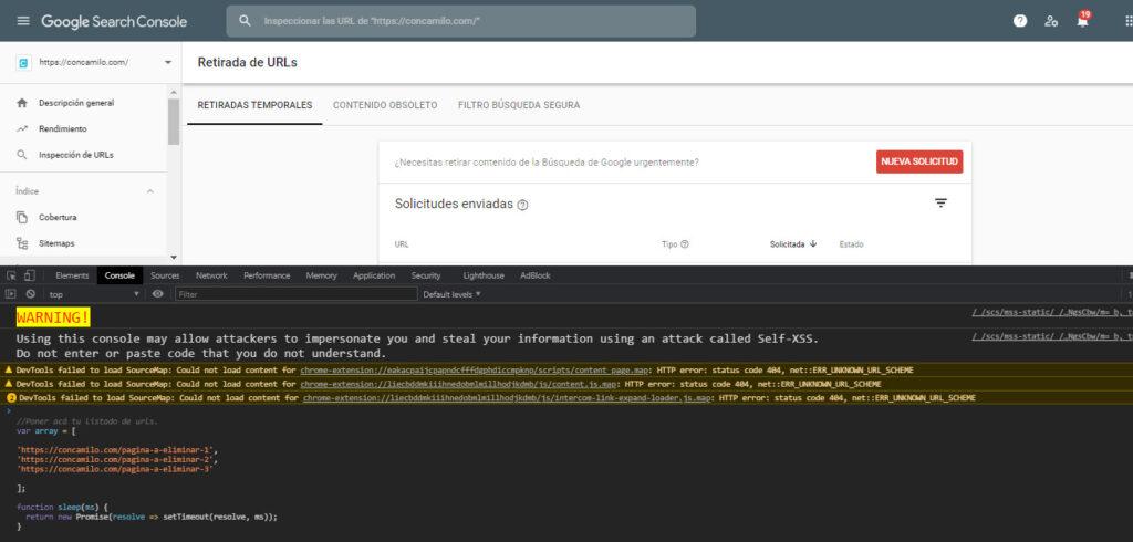 Script para eliminar urls en masa desde google search console